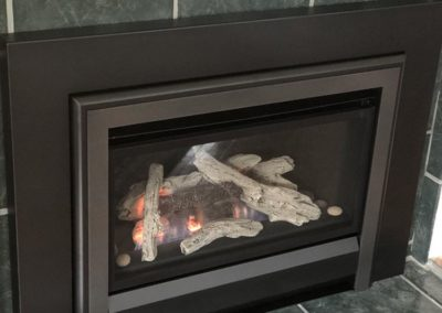 front of gas fireplace